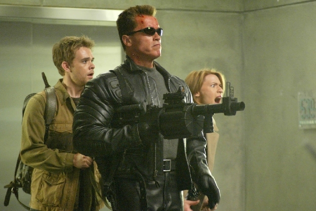 "Arnold Schwarzenegger stars in the futuristic action thriller ""Terminator 3: Rise of the Machines,"""