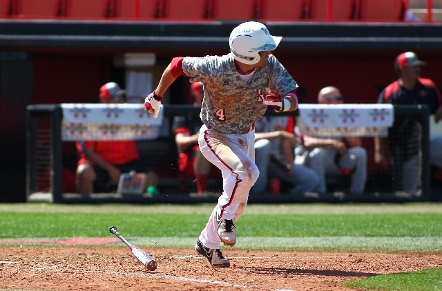UNLV's Matt McCallister makes a run to first base after a hit against San Diego State during a game at Earl E. Wilson Stadium in Las Vegas on Sunday, April 21.
