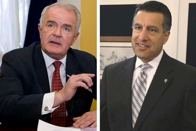Ex-Gov. Jim Gibbons, left, and Gov. Brian Sandoval. Gibbons issued 56 vetoes, while Sandoval has vetoed 45 bills. The difference? Not a single one of Sandoval's vetoes has been overridden. Gibbons ...