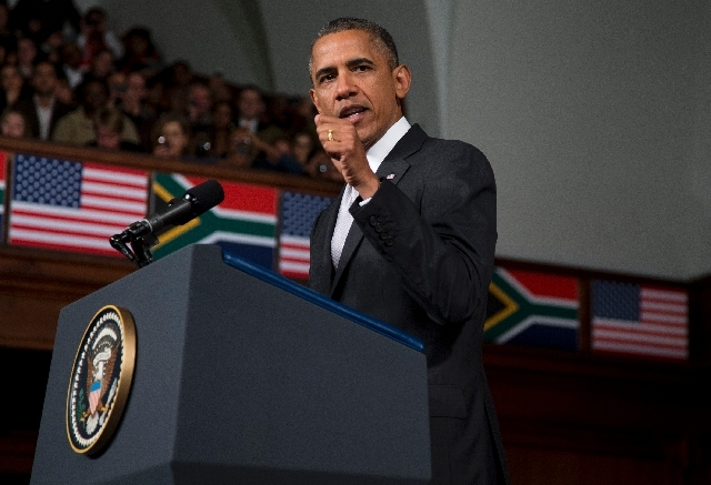 U.S. President Barack Obama speaks at the University of Cape Town on Sunday in Cape Town, South Africa.