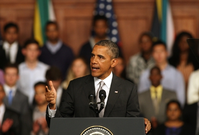 US President Barack Obama speaks at the University of Cape Town, South Africa on Sunday.