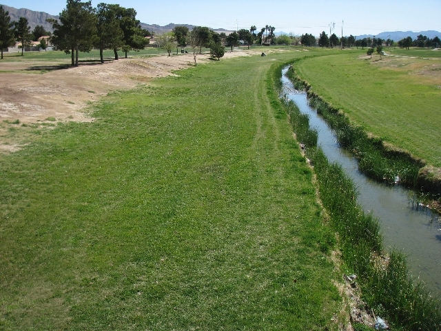 The Las Vegas Wash cuts through the Desert Rose Golf Course at 5483 Club House Drive, not far from the corner of Nellis Boulevard and Sahara.