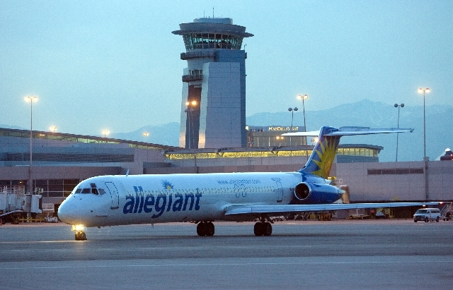 Las Vegas-based airline Allegiant Travel Co. posted higher second-quarter profits on Tuesday, but the stock price fell sharply.