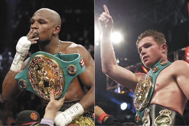 Floyd Mayweather Jr., left, and Saul 'Canelo' Alvarez will meet in September.