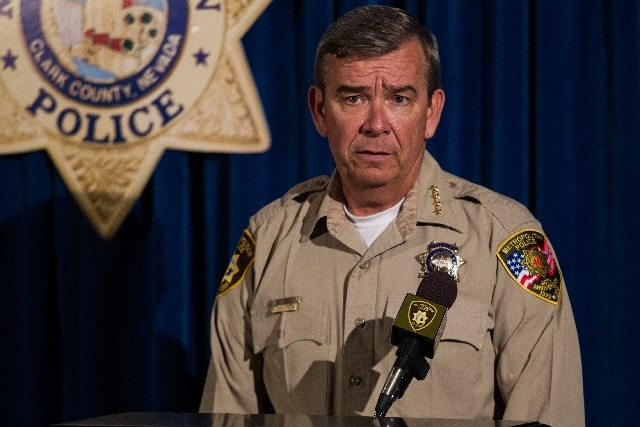 Clark County Sheriff Doug Gillespie speaks to the media about his recommendation for termination of Officer Jesus Arevalo, who shot and killed Stanley Gibson, at the Las Vegas Metropolitan Police  ...