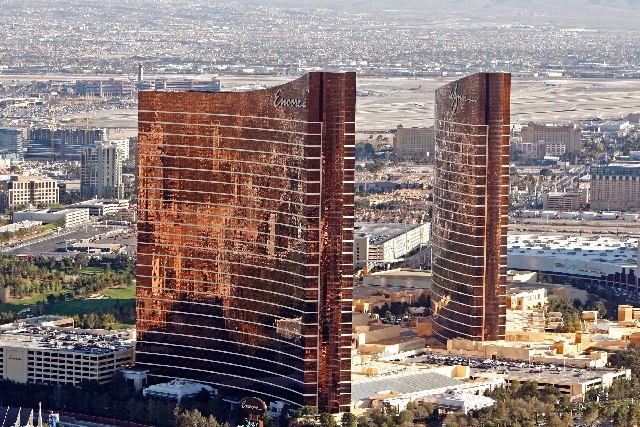 Wynn and Encore shown from the M Resort Blimp on Wednesday, March 18, 2009.