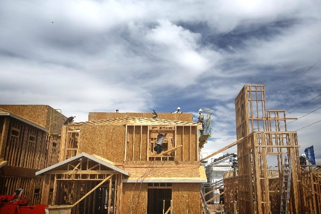 Construction is seen May 21 at Maravilla community by Ryland Homes in Mountain's Edge in southwest Las Vegas. Speaking in Las Vegas on Friday, Lawrence Yun, chief economist and senior vice preside ...
