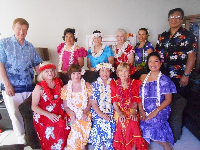 The hula group Aloha Nui Loa, photographed June 18 in the home of Barbi Baker, performs all over the valley from senior centers to Lake Las Vegas. Baker said hula keeps her moving despite surgerie ...