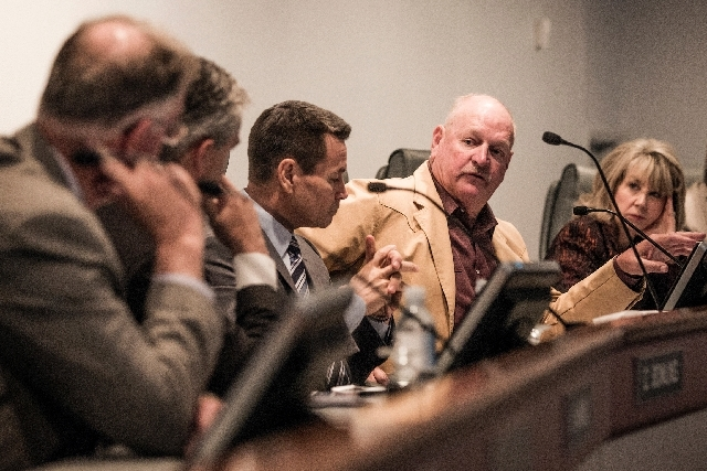 Members of the convention authority's compensation committee are seen June 26. The committee, with Andy Hafen, left, Charles Bowling, Scott Nielson, Tom Collins and Kristin McMillan, recommended a ...