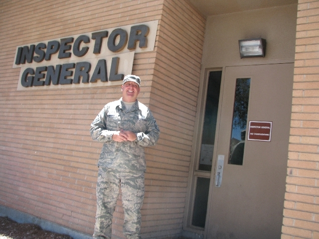 Master Sgt. Christopher James Burgess stands in front of the building he works at on Nellis Air Force Base, June 17. Burgess is a career military man with a long family history of military service ...