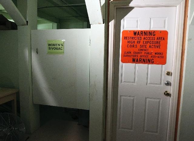 A sleeping area was set aside for nine women in the underground bunker in Clark County's Arden maintenance yard off Blue Diamond Road.
