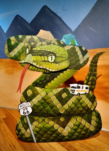 """One of the works from artist Su Limbert's """"Wildlife"""" series is shown at the """"Next Exit: Route 66"""" exhibit."""