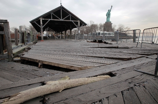 Parts of the brick walkway of Liberty Island that were damaged in Superstorm Sandy are shown during a tour of New York's Liberty Island in 2012.
