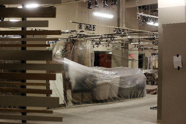 New furnishings sit covered in plastic in a showroom at the World Market Center in Las Vegas on July 2.