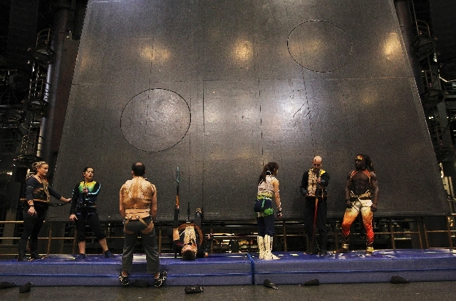 Sarah Guyard-Guillot, second from left, rehearses on a vertical wall with her fellow KA performers at the MGM Grand in Las Vegas on Dec. 29, 2011.