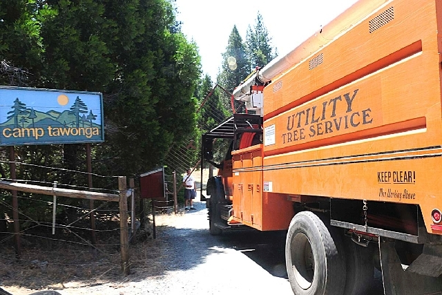 A tree service vehicle arrives at Camp Tawonga in Groveland, Calif., on Wednesday where a 21-year-old summer camp worker was killed when a large oak tree fell, authorities said. No children were h ...