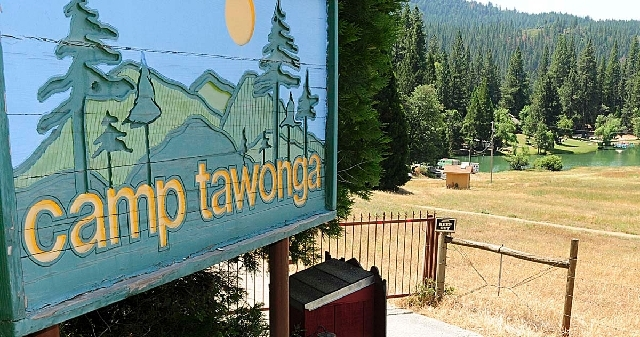 The entrance to Camp Tawonga is shown in Groveland, Calif., on Wednesday.