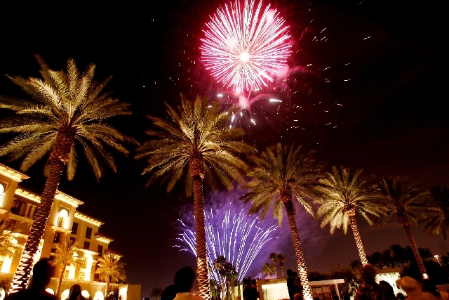 Fireworks light up the sky over the Green Valley Ranch resort during 2008 Independence Day celebrations.