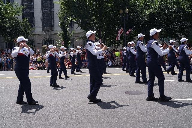 The Coronado High School marching band performs in Washington D.C. on Thursday.
