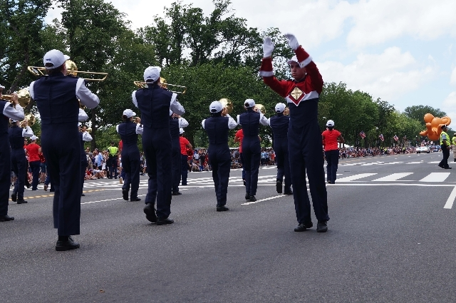 A drum major with the Coronado High School marching band performs on Thursday in Washington D.C.