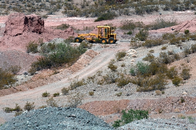 A construction truck sits along a road at the Quartette mine on Wednesday.