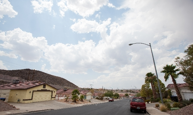 Seen on the far left is a home at 363 Eveningside Avenue in Henderson, where a Henderson SWAT team was called about a domestic violence dispute. Henderson Police are being accused of illegally bre ...