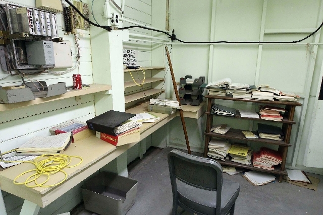 Emergency operations manuals are among litter in an office area of an underground bunker that was to be used in case of a nuclear attack on Las Vegas. The shelter likely would have housed the sher ...