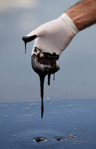 In this June 15, 2010 photo, a member of Louisiana Gov. Bobby Jindal's staff wearing a glove reaches into thick oil on the surface of the northern regions of Barataria Bay in Plaquemines Parish, La.