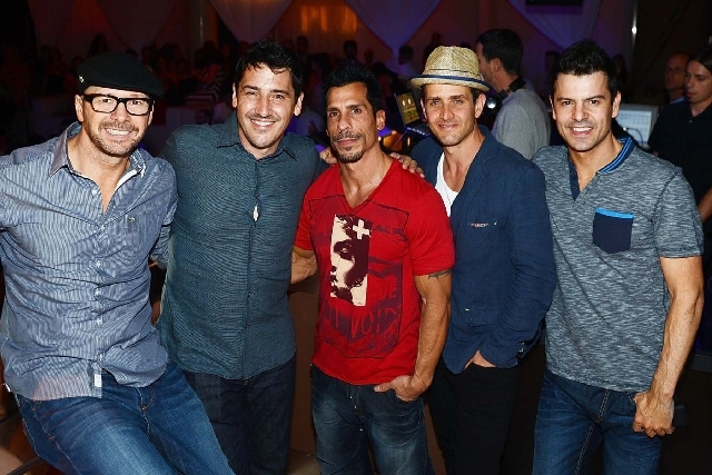From left, Donnie Wahlberg, Jonathan Knight, Danny Wood, Joey McIntyre and Jordan Knight of New Kids On The Block were the hosts at Pure at Caesars Palace on Saturday.