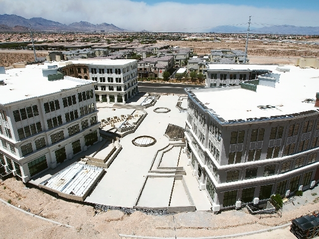 The office park area of The Gramercy is seen in Las Vegas, Monday. Construction is set to begin again on the newly named The Gramercy development on Russell Road just west of Clark County 215.