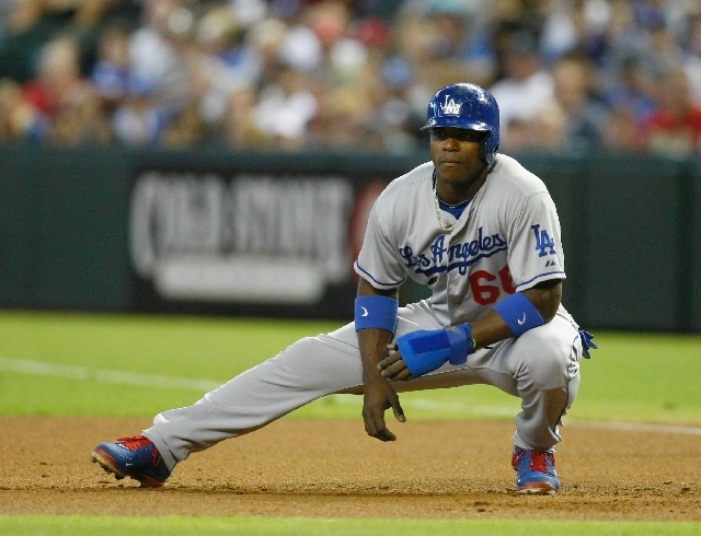 Los Angeles Dodgers Yasiel Puig (66) in the first inning during a baseball game against the Arizona Diamondbacks on Monday, July 8 in Phoenix.