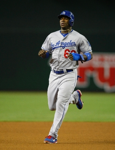Los Angeles Dodgers Yasiel Puig (66) in the first inning during a baseball game against the Arizona Diamondbacks on Monday, July 8, in Phoenix.