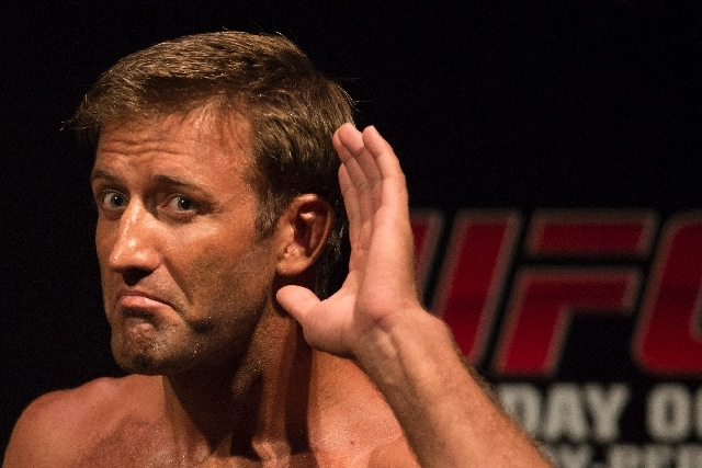 Stephan Bonnar from Las Vegas jokes with fans in Rio de Janeiro, Brazil, on Oct. 12 at a weigh-in for UFC 153. Bonnar was inducted to the UFC Hall of Fame on Saturday, largely because of his 2005  ...