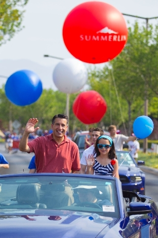 For the first time, a sitting governor participated in Summerlin's Fourth of July parade. Gov. Brian Sandoval and his youngest daughter, Marisa, lead the 19th annual Summerlin Council Patriotic Pa ...