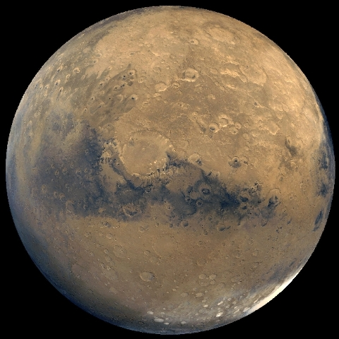 This photo released by NASA shows a view of Mars that was stitched together by images taken by NASA's Viking Orbiter spacecraft. The space agency is planning to send a spacecraft similar to the Cu ...