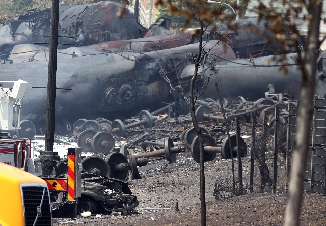 This photo provided by Surete du Quebec, shows debris from a runaway train on Monday in Lac-Megantic, Quebec, Canada.