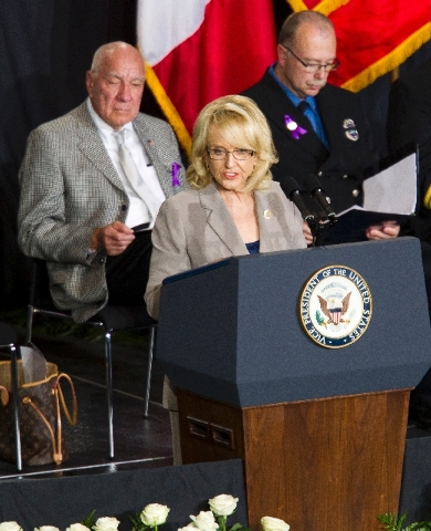 Arizona Gov. Jan Brewer speaks during a memorial service for the 19 fallen firefighters at Tim's Toyota Center in Prescott Valley, Ariz. on Tuesday.   Prescott's Granite Mountain Hotshots were ove ...