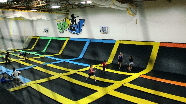 Parents can watch their kids literally bounce off the walls from mezzanine seating above the trampoline arena at Flip N Out, 1841 E. Craig Road, in North Las Vegas. The kids can run, jump, flip of ...
