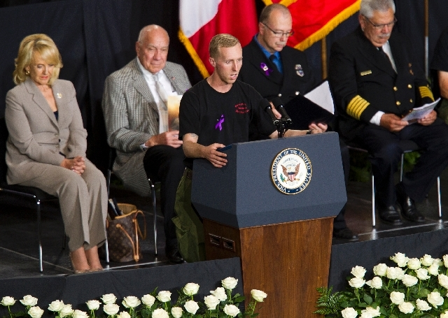 "Brendan McDonough recites The Hot Shot's Prayer during the ""Our Fallen Brothers"" memorial service for the 19 fallen firefighters at Tim's Toyota Center in Prescott Valley, Ariz. on Tuesday.   Pres ..."