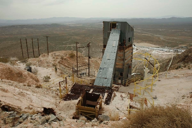 Remains of a mining operation are seen on property near the Red Rock Canyon National Conservation Area near Las Vegas in this March 25, 2010, file photo. The property is the site of a proposed Rho ...