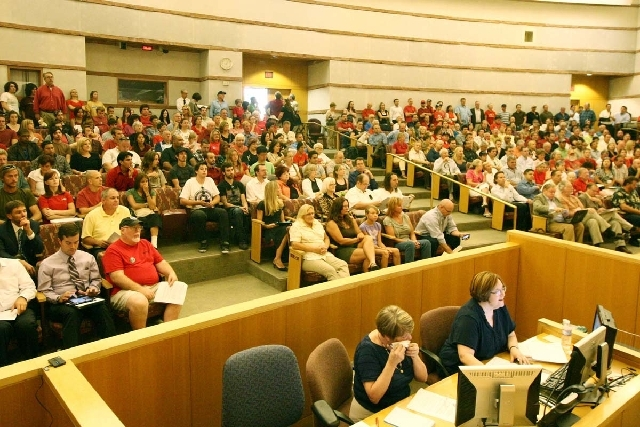 Area residents pack a Clark County Commission meeting at the County Government Center in Las Vegas in August 2011 to oppose a development in Blue Diamond near the Red Rock Canyon National Conserva ...