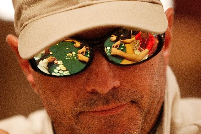 Rand Veal plays during the main event at the World Series of Poker at The Rio in Las Vegas Tuesday.