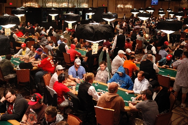 Players compete in the main event at the World Series of Poker at The Rio in Las Vegas Tuesday.
