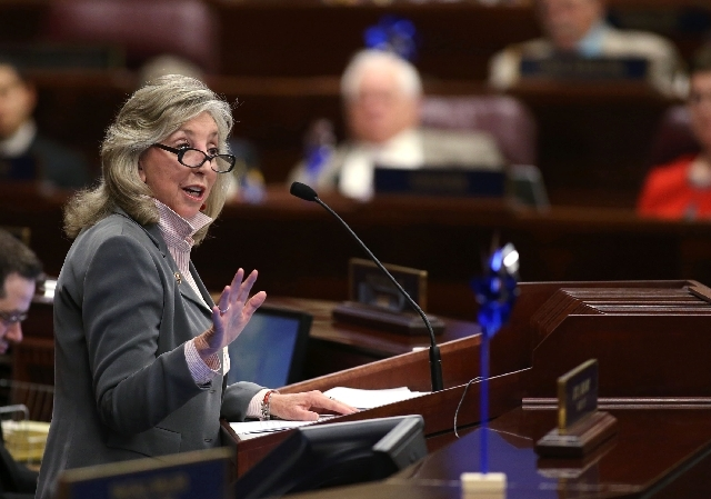 U.S. Rep. Dina Titus, D-Nevada, speaks to a joint session of the Nevada Legislature in Carson City, Nev., on Thursday, April 4.