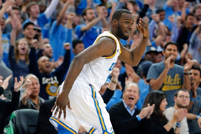 UCLA's Shabazz Muhammad reacts after making a 3-point shot against Missouri in overtime of an NCAA college basketball game in Los Angeles on Dec. 28, 2012. UCLA won 97-94 in overtime. Muhammad wil ...