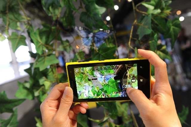 The Nokia Lumia 1020 smartphone is displayed during an announcement event in New York Thursday.
