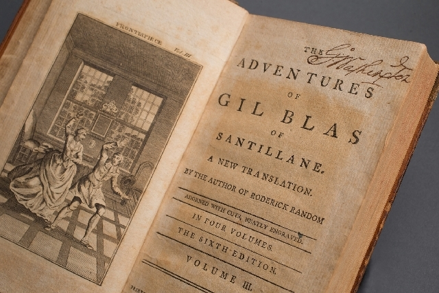 "George Washington owned the French imprint and the English translation of the novel ""The Adventures of Gil Blas of Santillane,"" according to caretakers at Mount Vernon."