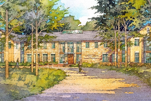 This artist's rendering shows the front of the Fred Smith Library for the Study of George Washington in Mount Vernon, Va.