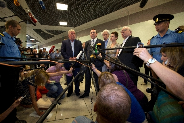 Russian lawmaker Vyacheslav Nikonov, second left, speaks to the media after meeting National Security Agency leaker Edward Snowden at Sheremetyevo airport outside Moscow, Russia, Friday.