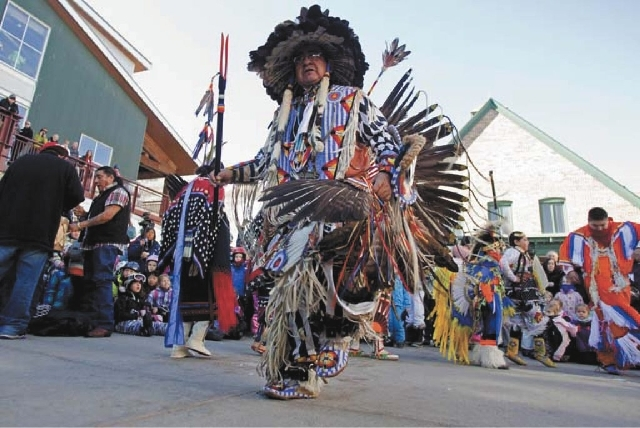 A member of the Native American Northern Ute Tribe dances on Jan. 14, 2012.